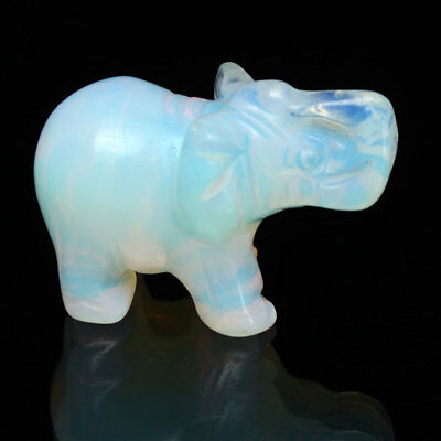 White Sri Lanka Moonstone Hand Carved Elephant Opal Gemstone Ornament 4x2.7cm