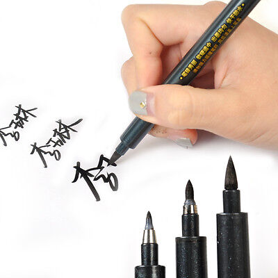 3x Chinese Calligraphy Brush Pen L/M/S Script Nib Draw Art Water Based Black Ink