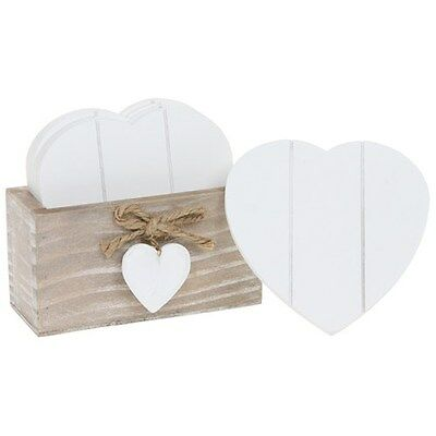 Provence Heart Coasters with Holder Wood Natural / White Shabby Chic