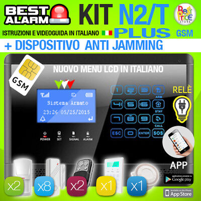 Antifurto Kit N2T Plus Allarme Touch Combinatore Gsm Wireless  Antijamming