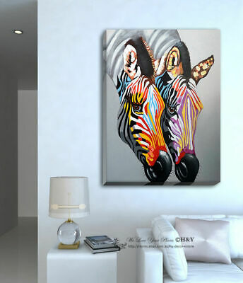 Colour Zebra Stretched Canvas Print Framed Wall Art Home Decor Painting Abstract