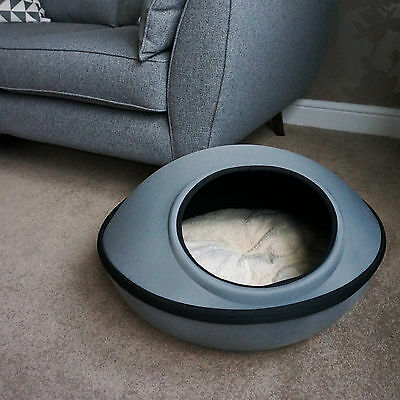 Grey Zip Cat Kitten Dog Puppy Waterproof Cave Pod Bed with Soft & Cosy Bedding