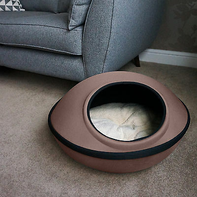 Brown Zip Cat Kitten Dog Puppy Waterproof Cave Pod Bed with Soft & Cosy Bedding