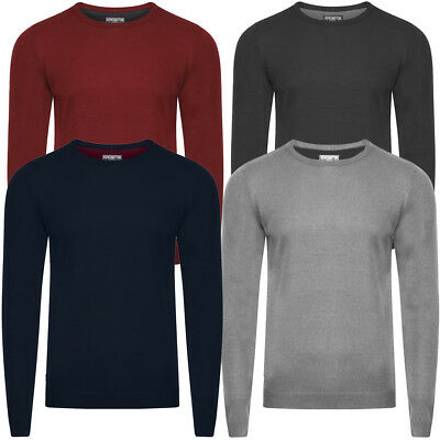 New Mens Kensington Eastside Burrow Crew Neck Long Sleeve Jumper Top Size M-XXL