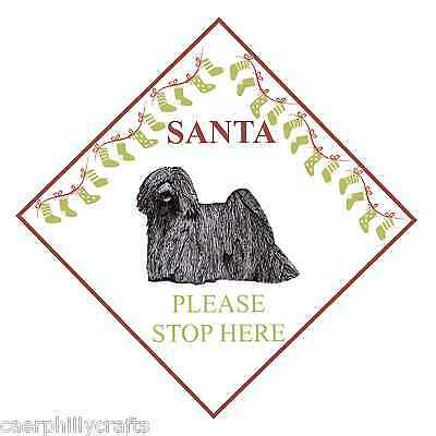 Hungarian Puli Santa Stop Here Sign by Curiosity Crafts
