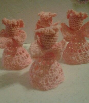 Crochet Pattern Pink Angels Christmas Holiday Ornaments Hang or Stand