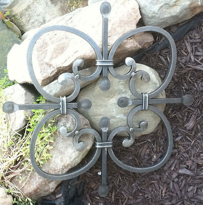 "Awesome Lg. 19.5"" Silver Forged Steel Rosette Metal Wall Hanging~Indoor/Outdoor!"