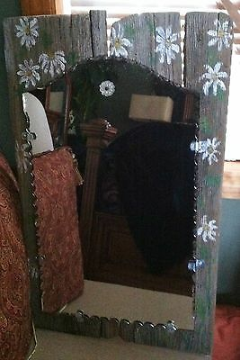 Vintage Cottage~Antique Mirror On Gray Barn Wood W/Hand-Painted Daisy