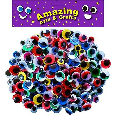 200 Self Adhesive wiggle wiggly googly eyes assorted types sizes 10mm 12mm 15mm
