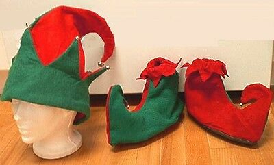 elf hat with shoes kit red green christmas costume accessory santa