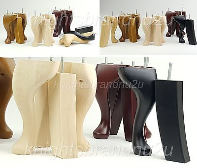 4x SOLID WOOD REPLACEMENT FURNITURE LEGS FEET  SOFA, CHAIRS, SETTEE M8(8mm)