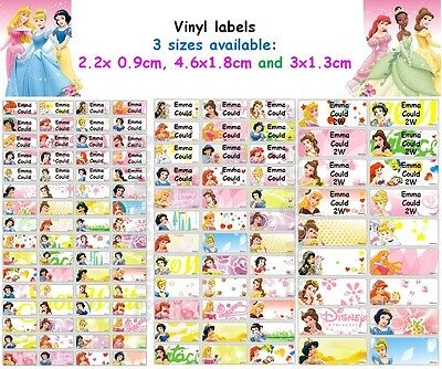 Disney Princess Vinyl Personalised Name Label Sticker school book girl pencil
