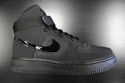 [653998 001] Kid's Gs New Nike Air Force 1 High All Black Grade School Youth Bk5