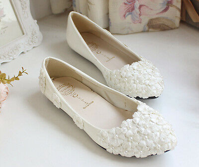 Womens Flat Heels Pointed Toe Handmade Wedding Party Shoes Bride Flower Lace  L1