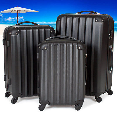 Black Travel Luggages Hard Suit Case Wheel Storage Clothes Set Protection Safe