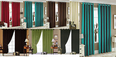 Luxury Faux Silk Eyelet Fully Lined Ready Made Pair Of Curtains With Tie Backs