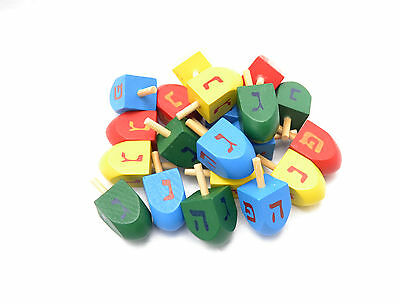 lot 20 pc Colorful Wood Spinning top Dreidel Hanukkah Sevivon Nes gadol haya po.