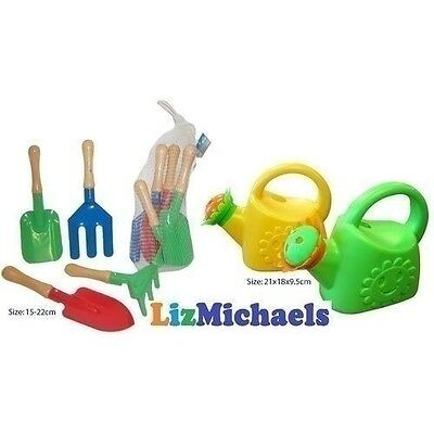 Kids Childrens Gardening Tools & Watering Can Pretend Play Backyard Outdoor Toy
