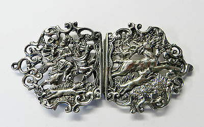 Stunning victorian Silver Nurses Buckle Hunting Scene 1896 Nathan & Hayes
