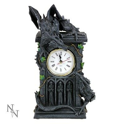 Fighting Duelling Dragons Clock: Gothic Fantasy Mantel Desk Clock by Nemesis Now