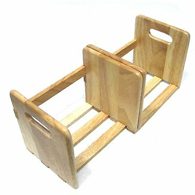 New Extendable Rubber Wood Book Stand Desk Organizer Rack Hardwood Book Holder