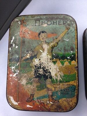 2 Awesome Soviet Era Pioneer Soap Tins 1950s Vintage Hammer Sickle Lenin Rare!