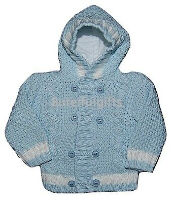 Baby Boys Traditional Cable Knitted Hooded Cardigan 3-24 Month