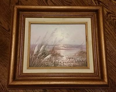 Original Unsigned Oil Painting on Canvas Calming Beach Landscape Wood Frame