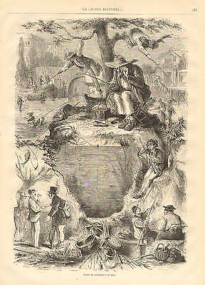 Types Of Fishermen, Humor, Very Nice, Vintage 1873 French Antique Art Print