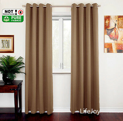 2 X Blockout Eyelet Curtains Pure Fabric Blackout Room Brown 240cm x 230cm PAIR