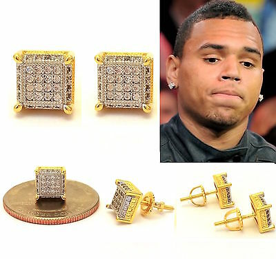 New Mens Lab Diamond 18K Yellow Gold Finish 2 Tone Screw Back Stud Earrings
