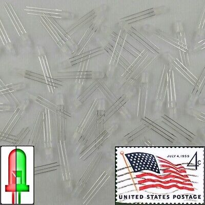 100pcs 5mm Dual Bi-Color Red/Green Diffused 3-Pin Common Cathode Leds Light USA