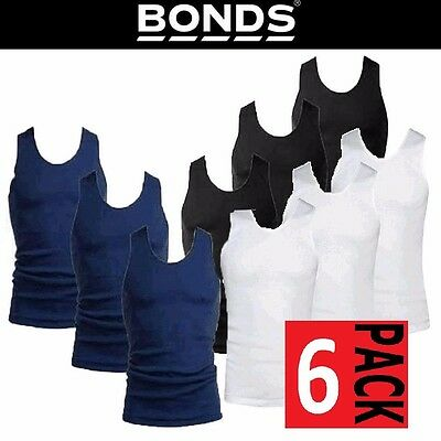 Mens Bonds 6 Pack Singlets Chesty Navy White Cotton Singlet Vest Work Size S-3Xl