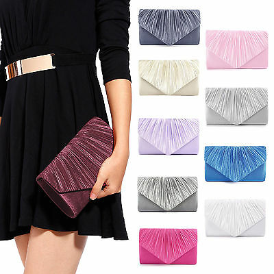 New Women Pleated Satin Diamante Clutch Bridal Party Prom Ladies Evening Bags
