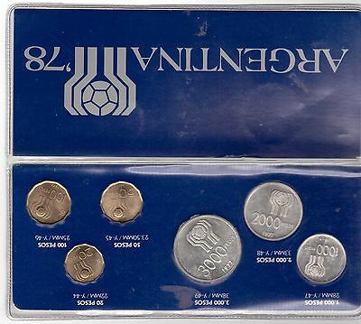 Argentina - 6 Dif Coins Set: 20 - 3000 Pesos 1977 Year Football World Cup 1978