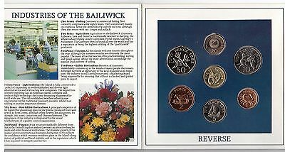 Guernsey – 7 Dif Unc Coins Set:  1 Pence - 1 Pound 1985 Year In Folder