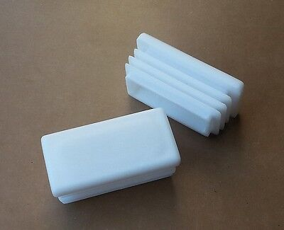 Rectangular Plastic End Caps Inserts Plug/ Steel AlluminiumTube /White 50mmx25mm