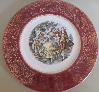 """Imperial Salem China Co. 23 karat gold red plate-10.75"""""""