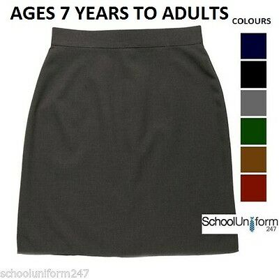 Zeco Girls School Uniform Pencil Skirt Ages 7-16 yrs & W30-40in Grey Black Navy