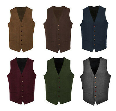 Mens Wool Tweed Slim Fitted Vest Waistcoat Grey Green Navy Blue S M L XL 2XL 3XL