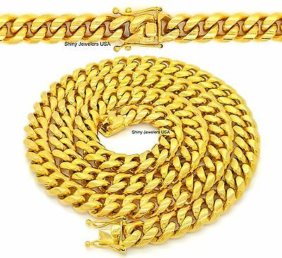 "Mens 14K Gold Finish Miami Cuban Link Chain Box Clasp 30"" & 36"" Necklace"