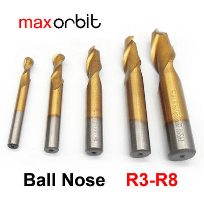 5PC Ball Nose Milling Cutter, M2 HSS Titanium Coated End Mill, Round Bits R3-R8