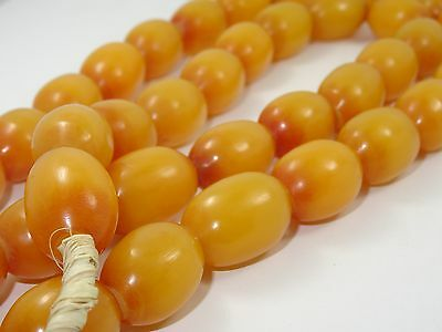 "VINTAGE 40 pcs 22 mm AMBER COPAL AFRICAN TRADE BEAD  NECKLACE ~ 34"" / 124 g"