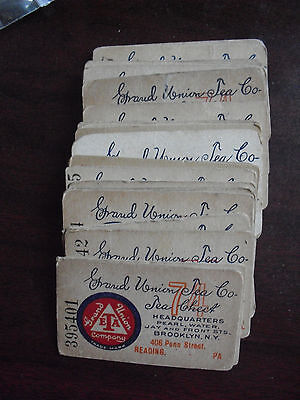 Lot of 32 Vintage 1920s Grand Union Tea Co Tea Check Tickets