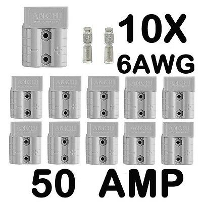 10 x Anderson Style 50 AMP Plug Connectors HD Springs DC Power 12-24V 6AWG