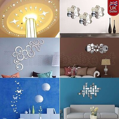 UK DIY Silver Modern Mirror Stickers Wall Rectangle&Butterfly Decal Home Decor