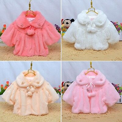 Winter Newborn 6 12 24 Months Baby Girl Fur Coat Cloak Jacket Snowsuit Outerwear