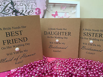Personalised Will You Be My Bridesmaid Flower Girl Maid Of Honour Card Wedding