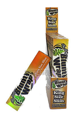 1 Box (25x) Blunt Wrap King Size Slim Medium Thin Gold Rolling Papers