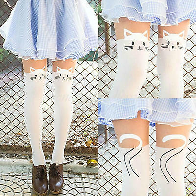 Women Cute Mock Over Knee Tights Pant Cat High Tattoo Pantyhose Stockings White